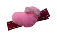FELT CLIP - Puffy Heart Pink on Red Stitch