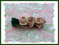 Roses - Beige Swirls (3) on Hunter Green Velvet