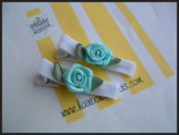 Roses - Aqua Swirls on White Velvet