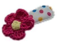 Cutie Snap Clips - Crochet Flower - Dark Pink on Fun Dots