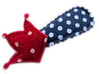 Cutie Snap Clips - Red Crown on Navy Dots