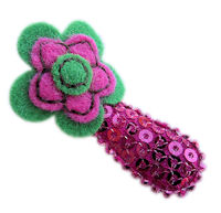 Cutie Snap Clips - Sophie - Green and Hot Pink Felt on Hot Pink Sequins