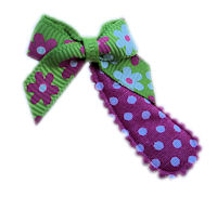 Cutie Snap Clips - Mini Bow - Green Pink Floral on Dots