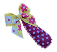 Cutie Snap Clips - Mini Bow - Yellow Pink Floral on Dots