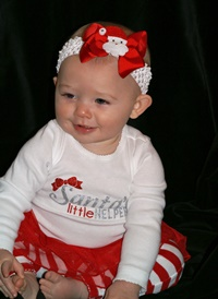 Santa's Little Helper Bow and Headband Set