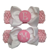 Monogram Bows + Headband Kit - White with Light Pink Center + Pink Heabands