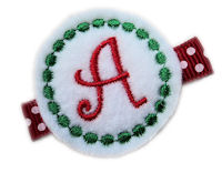 Monogrammed Gumball -  FELT CLIP - Holiday White, Red and Green