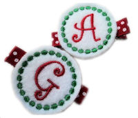 Monogrammed Gumball -  FELT CLIP - Holiday White, Red and Green - TEAM