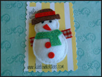 FELT CLIP - Snowman on Gingham!