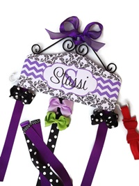Hair Bow Holder - Black Scroll and Chevron - Purple