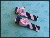 Swirl Roses with Bling - Baby Pink on Zebra