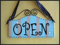 Boutique Sign - OPEN & CLOSED Jamaican Sea Blue with Taupe STRIPES