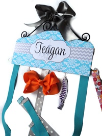 Hair Bow Holder - Chevron & Damask - Turquoise and Grey