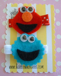 FELT CLIPS - Team Elmo and Cookie Monster