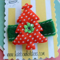 Christmas Tree - Red with Bling on Felt
