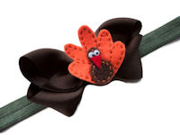 Holiday Turkey Bow + Headband Kit - Olive Band
