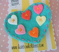FELT CLIP - Large Turquoise Heart