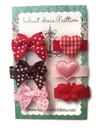 Infant Hair Pretties - Set of 6 - Valentine's Day - Pretty Bows and Hearts