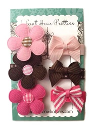 Infant Hair Pretties - Set of 6 - Valentine's Day - Petals and Bows