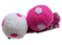 Pure Wool Hair Clip - Bright Pink and White Dots