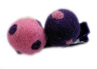 Pure Wool Hair Clip - Candy Pink and Plum Polka Dots