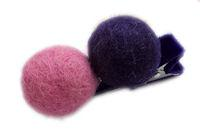 Pure Wool Hair Clip - Candy Pink and Plum Solid