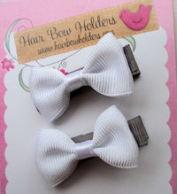 Wedding Hair Bow Set - White and Gray
