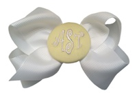Basic Bows - 3 LETTER MONOGRAM - White and Yellow