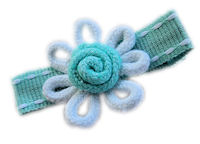 Wild Crochet Hair Clip - Aqua/White on Aqua Stitch