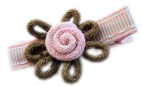 Wild Crochet Hair Clip - Brown on Pink Stitch