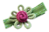 Wild Crochet Hair Clip - Pretty Green/Pink on Green Stitch