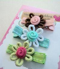 Wild Crochet Hair Clip - Set of 3 Brown, Aqua and Green