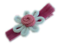 Wild Crochet Hair Clip - White and Hot Pink on Velvet