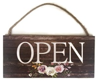 Boutique Sign - Open Closed - Wooden Floral