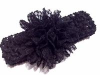Lace Flower Headband - Black