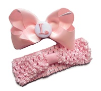 Headband + Hair Bow Set - Light Pink with White Center