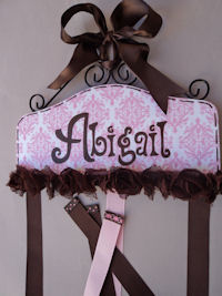 Pink Damask - Hair Bow Holder - Abigail