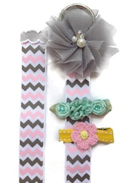 Tulle Flower Simple Bow Holder - Pink Gray Chevro