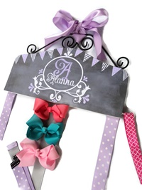 Hair Bow Holder - Chalkboard Art - Lavender