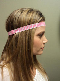 Elastic Interchangeable Headbands - Chevron - Hot Pink