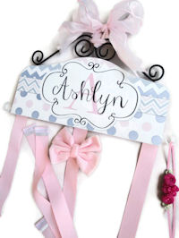 Hair Bow Holder - Chevron & Polka Dots - Pink and Gray
