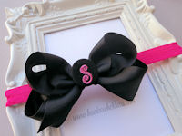 Monogrammed Bow + Headband Kit - Black Bow with Black and Hot Pink Center