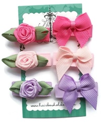Infant Hair Pretties - Set of 6 - Mini Bows and Roses