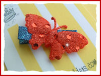 Butterfly - Large - Red on Denim