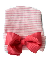 NEWBORN CAP - Bow - Coral Pink