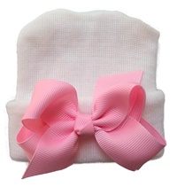 NEWBORN CAP - Bow - White with Baby Pink Bow