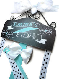Hair Bow Holder - Chalkboard Art - Aqua/Turquoise