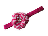 Chevron Bling Headband - Hot Pink