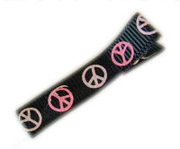 Cool Clips - Peace Sign - Pink White on Black