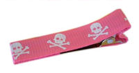 Cool Clips - Skulls - White on Pink